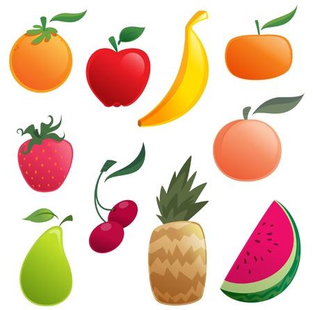 vegetable cartoon: Shinny cartoon orange, apple, banana, pear, watermelon, strawberry, pineapple, cherries, peach and tangerine