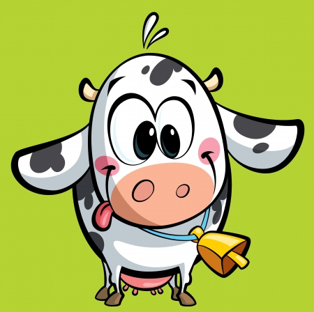 Cartoon baby cow with a big cowbell having its tongue out of mouth