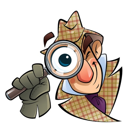 A cartoon investigator with a huge glass and eye, is looking at us Stockfoto