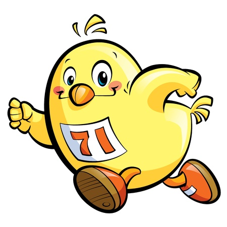 Cute cartoon yellow chicken running fast photo