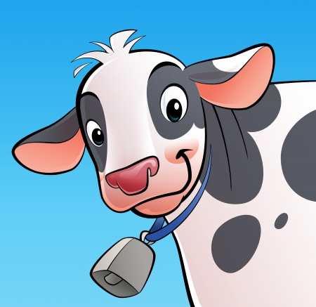 A cartoon smiling, white with dots, cow with a cowbell photo
