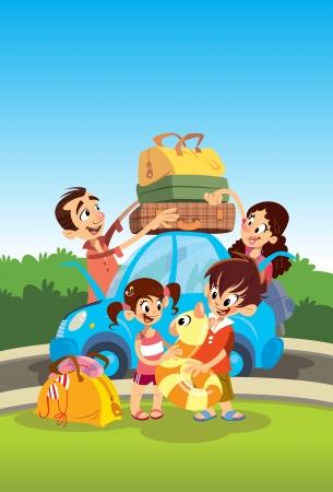 femme valise: Cartoon famille heureuse préparation pour les vacances Banque d'images