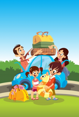 family vacations: Cartoon happy family preparing for vacations Stock Photo