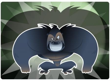 see no evil: An envy gorilla smiling Illustration