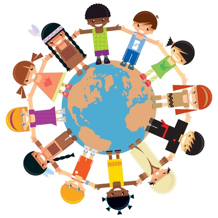 connected world: Many kids from different ethnicities holding their hands around the world