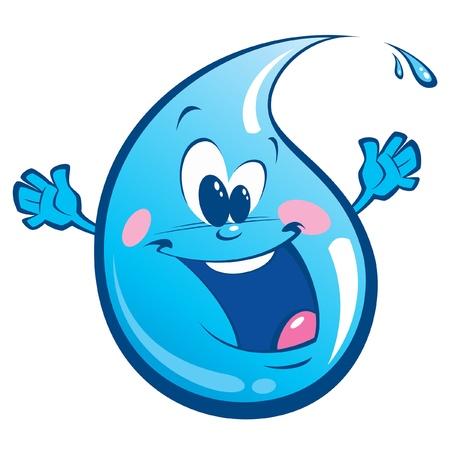 sediento: Una gota cian feliz agitando sus manos