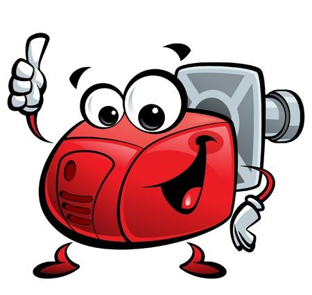 burner: Red cartoon burner making a thumb up gesture Illustration