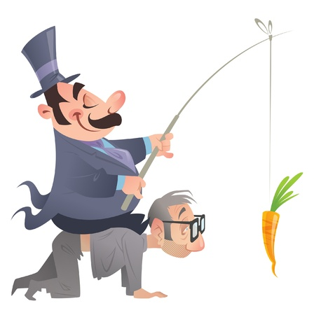 A fat politician man in costume is sitting on the back of a poor man, on his knees,  that currying him, going after a carrot that the politician holding