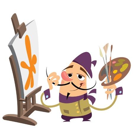 Cartoon painter standing proud in front of his creation 일러스트