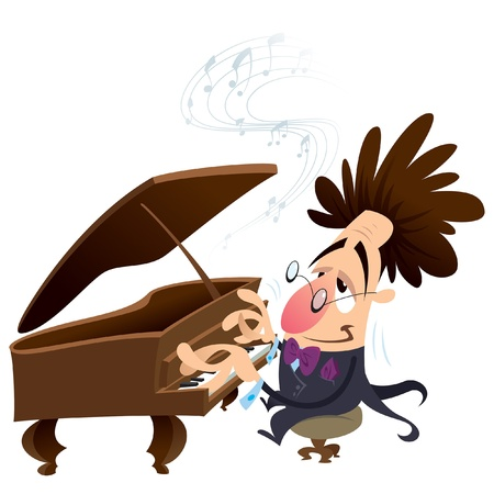 virtuoso: Cartoon pianist with crazy hair while performing