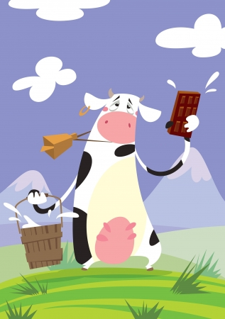 A funny cartoon cow with a big cowbell, holding a bucket and presenting a milky chocolate Vector