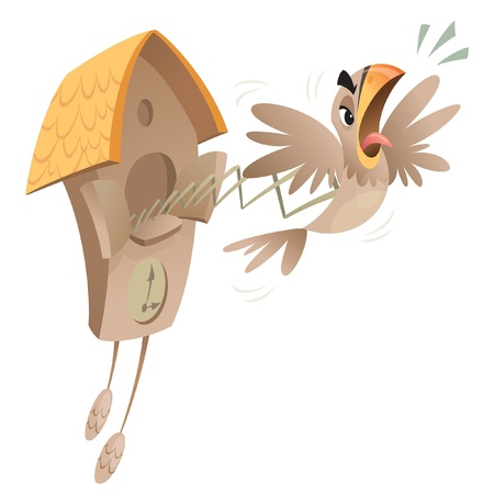A cartoon piessed off cuckoo jumping out of the old clock announcing time. Illustration