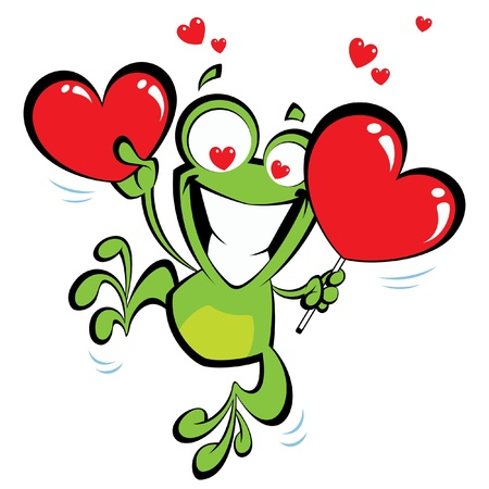 Crazy frog jumping excited, holding two big hearts and having hearts instead of eyes