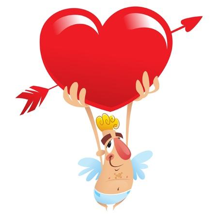 A cartoon funny cupid holding a huge heart over his head Vector