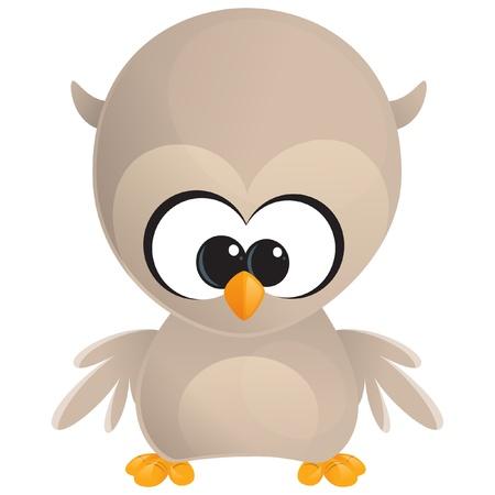 Cute Cartoon Baby braune Eule mit großen Augen stehen und sich mit uns