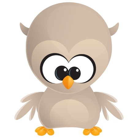 Cute cartoon baby brown owl with huge eyes standing and looking at us