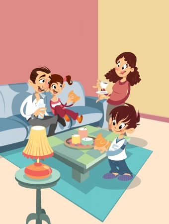 livingroom: Cartoon happy family at the living-room