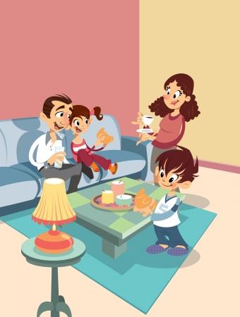 Cartoon happy family at the living-room