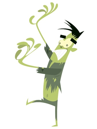 A cartoon freaked out green zombie walking