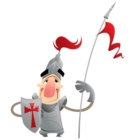 A cartoon knight with spear and armour protecting Vector