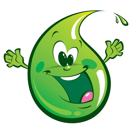 A happy green drop, smiling and waving its hands Stock Vector - 19555999