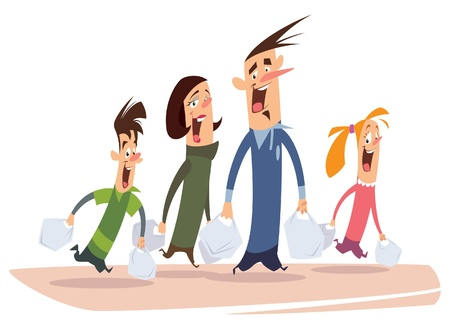family clip art: A happy cartoon family with mom, dad, son and daughter going for shopping and carrying many bags