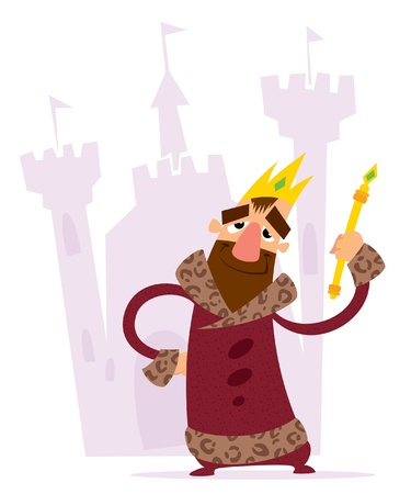 sceptre: A cartoon smiling king with crown and mace standing standing in front of his castle