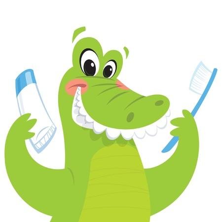 Glückliche grüne Krokodil ist lächelnd, während eine Zahnbürste und eine Zahnpasta Standard-Bild - 19556016