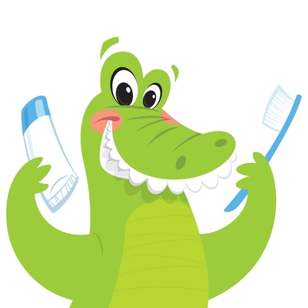 Happy green crocodile is smiling while holding a toothbrush and a toothpaste