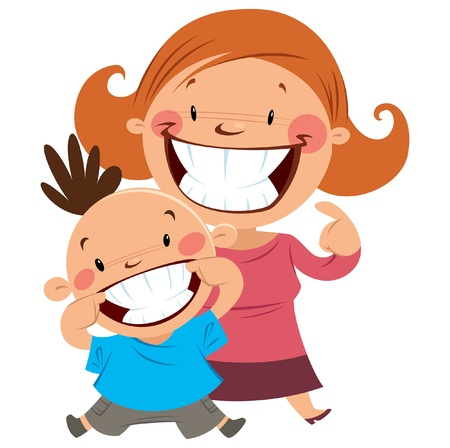 woman mouth open: Happy mom and son smiling showing their straight and clean teeth
