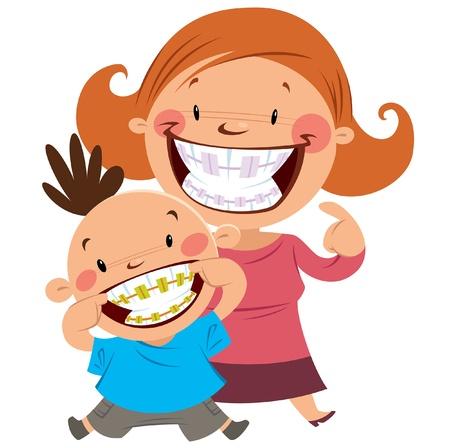 ortodoncia: Feliz madre e hijo sonriendo mostrando sus tirantes de colores