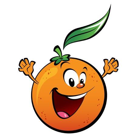 frutas divertidas: Una naranja feliz agitando sus manos