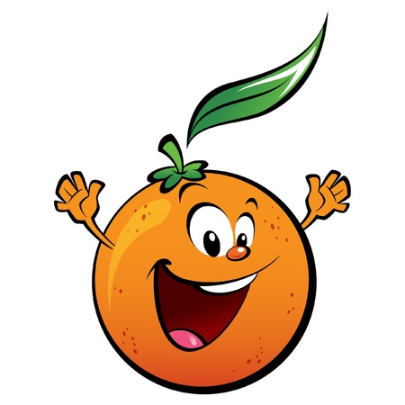 naranja caricatura: Una naranja feliz agitando sus manos
