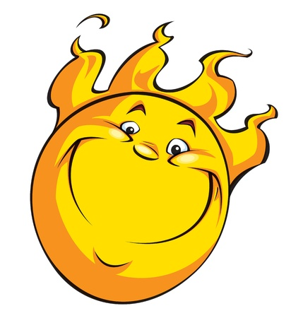A happy smiling sun with flames-hair