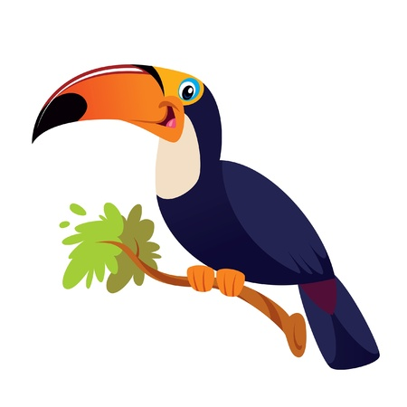 A happy tucano toco on a branch smiling Illustration