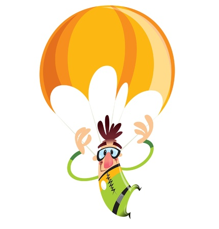 Man with green suit and an orange parachute falling slowly Illustration