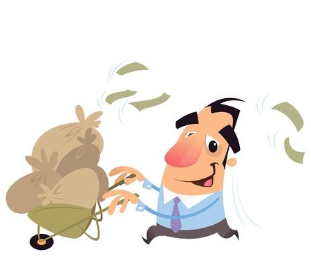 mucho dinero: Un hombre de negocios de dibujos animados emocionado con tener un carro lleno de sacos con billetes de banco