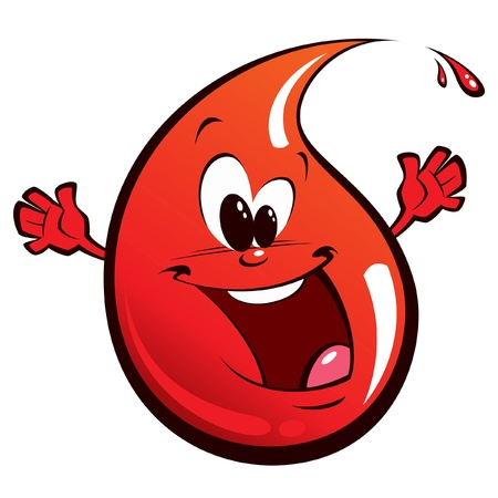 A happy red drop, smiling and waving its hands 일러스트