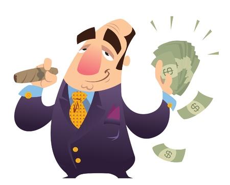 Een happy cartoon rijke man, roken sigaar en houden veel dollar biljetten