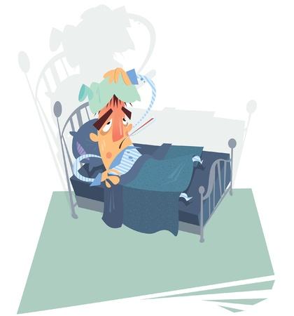 Un hombre enfermo con temperatura alta se inclina sobre una cama Ilustración de vector