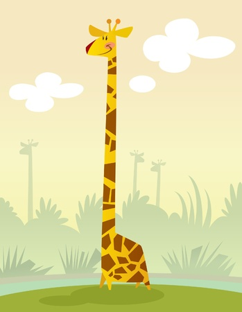 A happy cartoon giraffe standing in the grass smiling Illustration