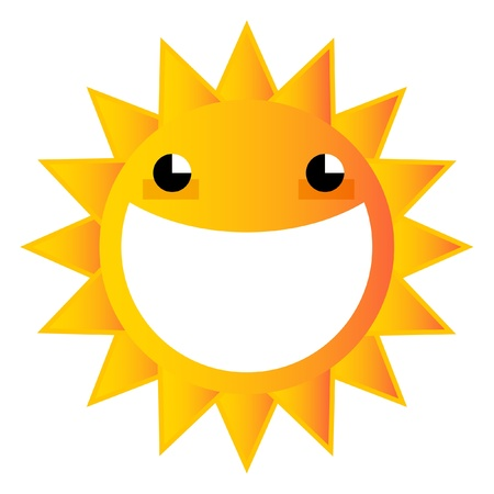 A happy cartoon sun with a huge smile in its face