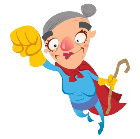 Super grandmother flying 일러스트