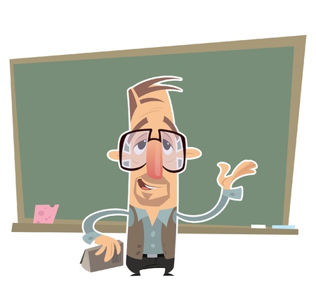 explain: Cartoon teacher with big eye glasses presenting in front of a blackboard