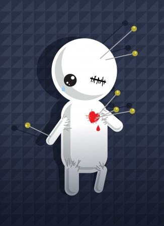 Voodoo doll: A pinned cartoon voodoo dummy