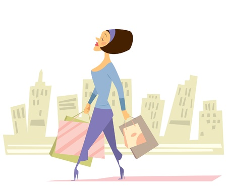 arrogant: A woman walking on the street going for shopping and carrying many bags