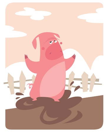 A pig in the farm, playing with mud Vector