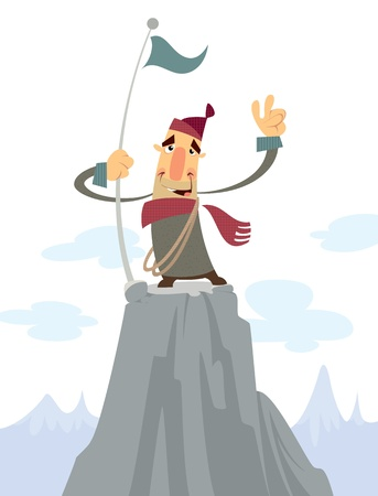 A cartoon alpinist on top of a mountain smiling and doing a victory gesture photo