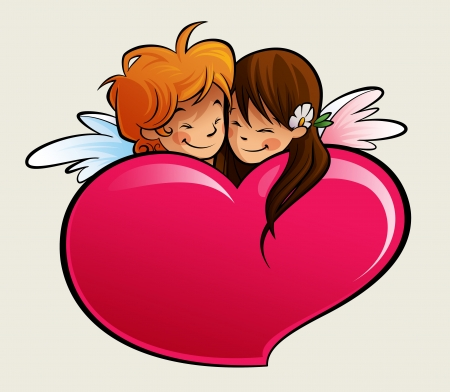 A boy and a girl cupid, falling in love behind a heart photo