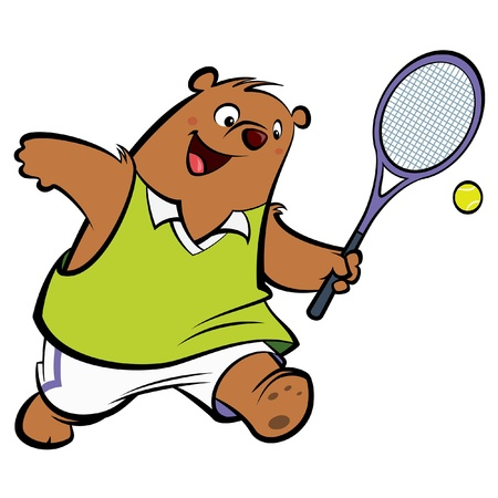 Cartoon bear with athletic suit playing tennis wearing sport clothes photo